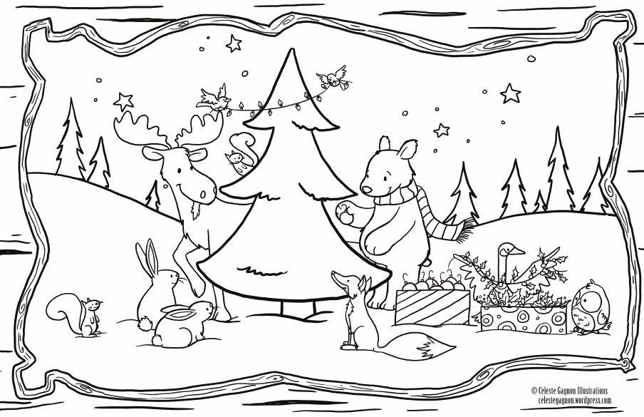 Woodland Setting 11x17 Colouring Page Christmas Coloring Pages Christmas Placemats Free Christmas Printables
