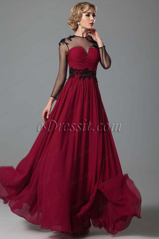 8294c0883b0e7 Elegant Long Sleeves Sheer Top Evening Gown (26152417)  edressit  dress   evening dress  fashion  women