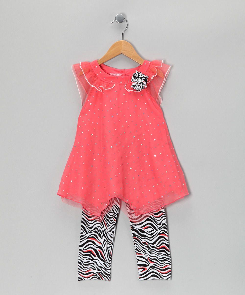 Coral Zebra Angel-Sleeve Tunic & Leggings - Infant & Toddler