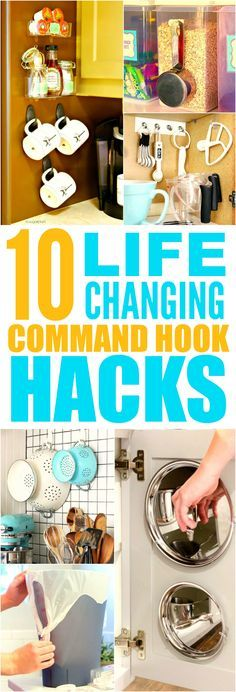 These 10 life changing command hook hacks are THE BEST! I'm so glad I found these AMAZING tips! Now I can organize and decorate my home! Definitely pinning for later!