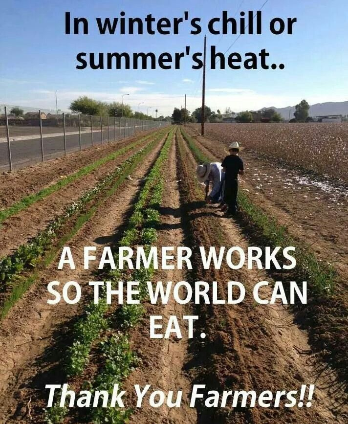 In The Winter S Chill Or Summer S Heat A Farmer Works So The World Can Eat Thank You Farmers Farmer Quotes Agriculture Quotes Farmer