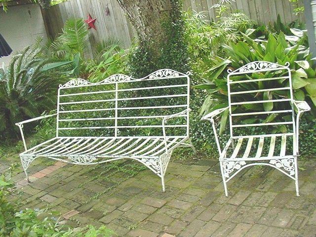 Woodard Iron Patio Settee Side Chair Grape Pattern Vintage Wrought Iron Patio Furniture Vintage Patio Patio Cushions
