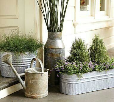 Galvanized Metal Tubs, Buckets, U0026 Pails As Planters By Pottery Barn (Driven  By Décor) Cute For The Porch