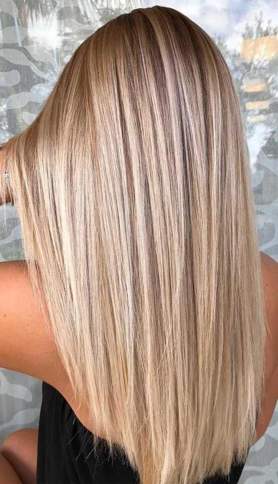 Photo of brown hair color, brown hair color, blonde balayage hair, subtle blonde balayag …