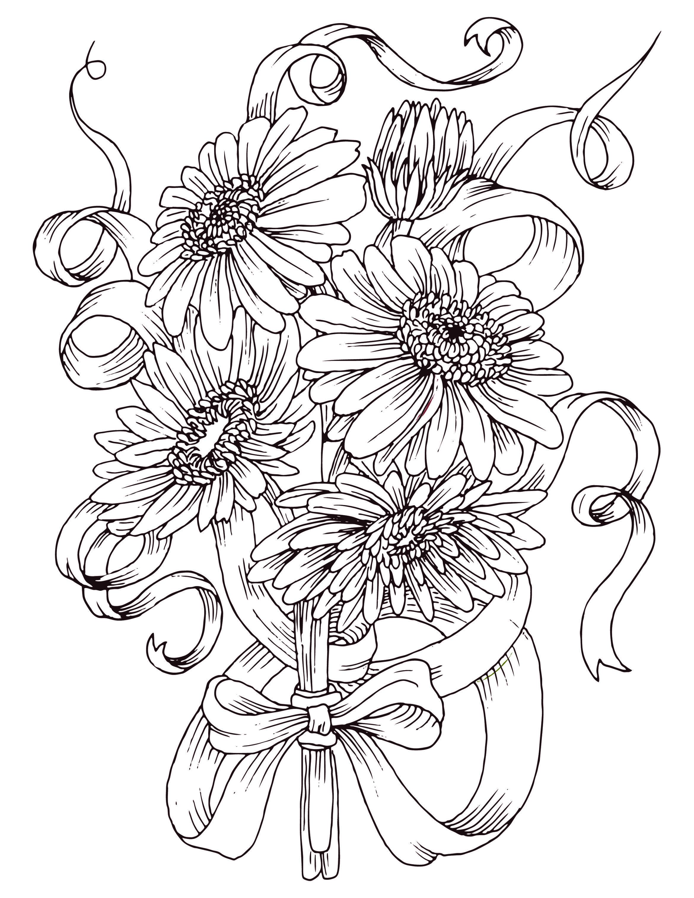 Coloriage gratuit bouquet de fleurs marguerite id es diverses pinterest coloriage - Coloriage bouquet de fleurs ...