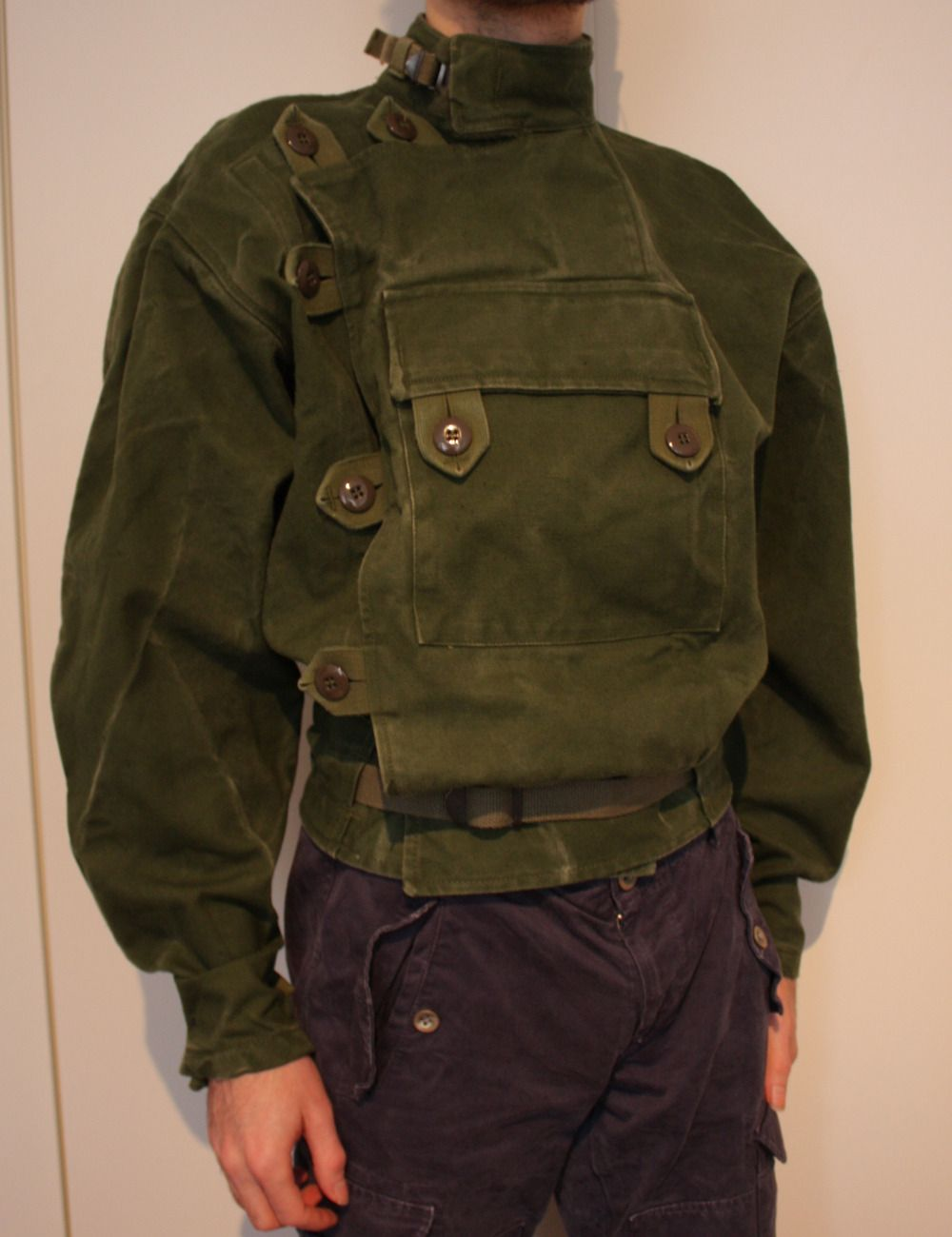 1961 Swedish Military Motorcycle Jacket Since I Wanted The Ultra Baggy Top But Slim Waist I Had To Detach And Re Baggy Tops Military Motorcycle Cotton Jacket