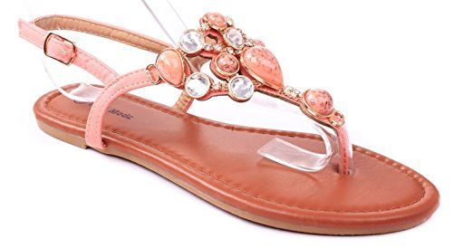 bc3f5bb12e550 JJF Shoes Berry Coral Jewel Gem Rhinestone Crystal Studded Slingback Thong  Flat Sandals8     · Flip Flop SandalsFlat SandalsFlip FlopsWomen s ...