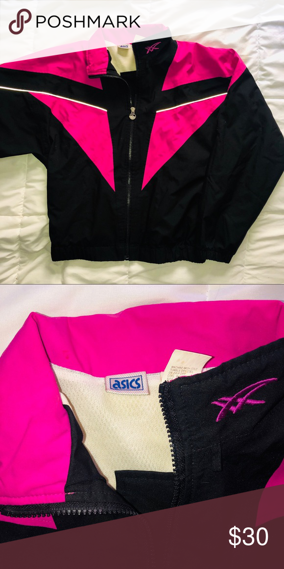 4b95e2bb3423 ASICS black pink zipper wind breaker jacket Perfect condition Could fit an M  TAGS •