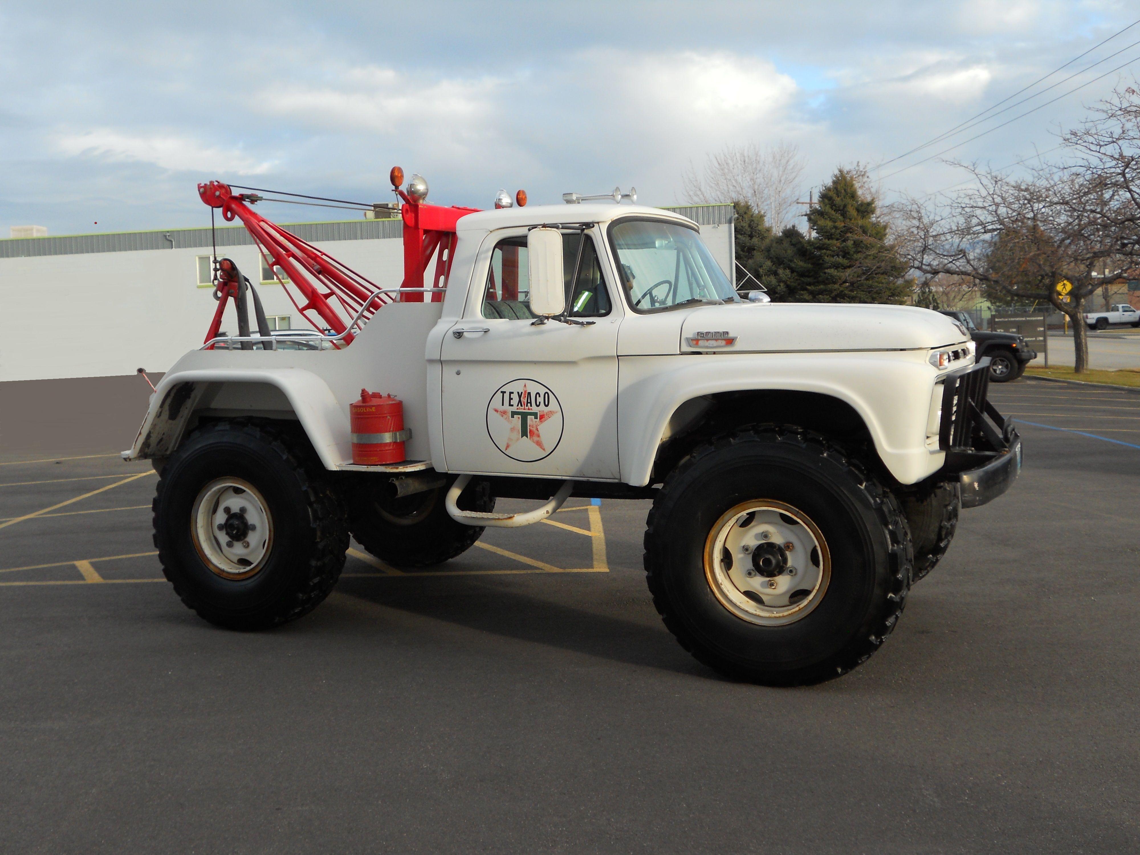 Barn Find All Original Un Restored 1966 Ford F600 4x4 Wrecker Truck Built Custom For Texaco Oil In Wyoming 390 V8 Planetary Ford Trucks Custom Trucks Trucks