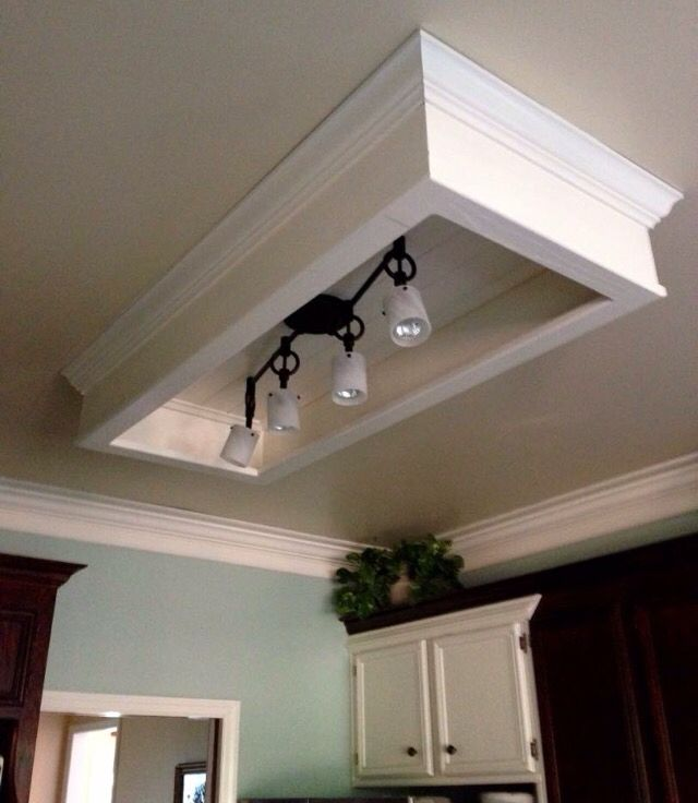 Easy Update For Dated Fluorescent Light Box Fluorescent Kitchen Lights Lighting Makeover Kitchen Ceiling Lights