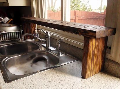 Over The Sink Shelf From Pallet Wood, Diy, Kitchen Design, Pallet, Shelving  Ideas, Woodworking Projects, Over The Sink Window Shelf Made From Pallet  Wood