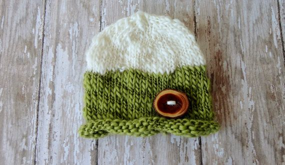 Baby Beanie Newborn Baby Hat in Hand Painted by KnitsDuNord, $20.00