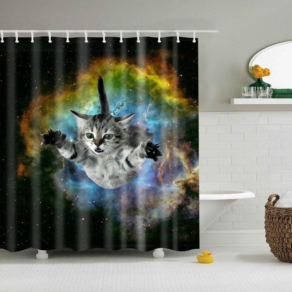 Galaxy Kitten Need A Hug Shower Curtain Bathroom Decor In 2020 Shower Curtain Art Cat Shower Curtain Patterned Shower Curtain