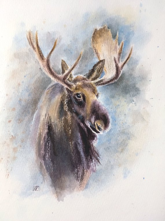 77ab869a3 Moose horns, painting of animals. Elk modern wall ART. Gift for hunter,