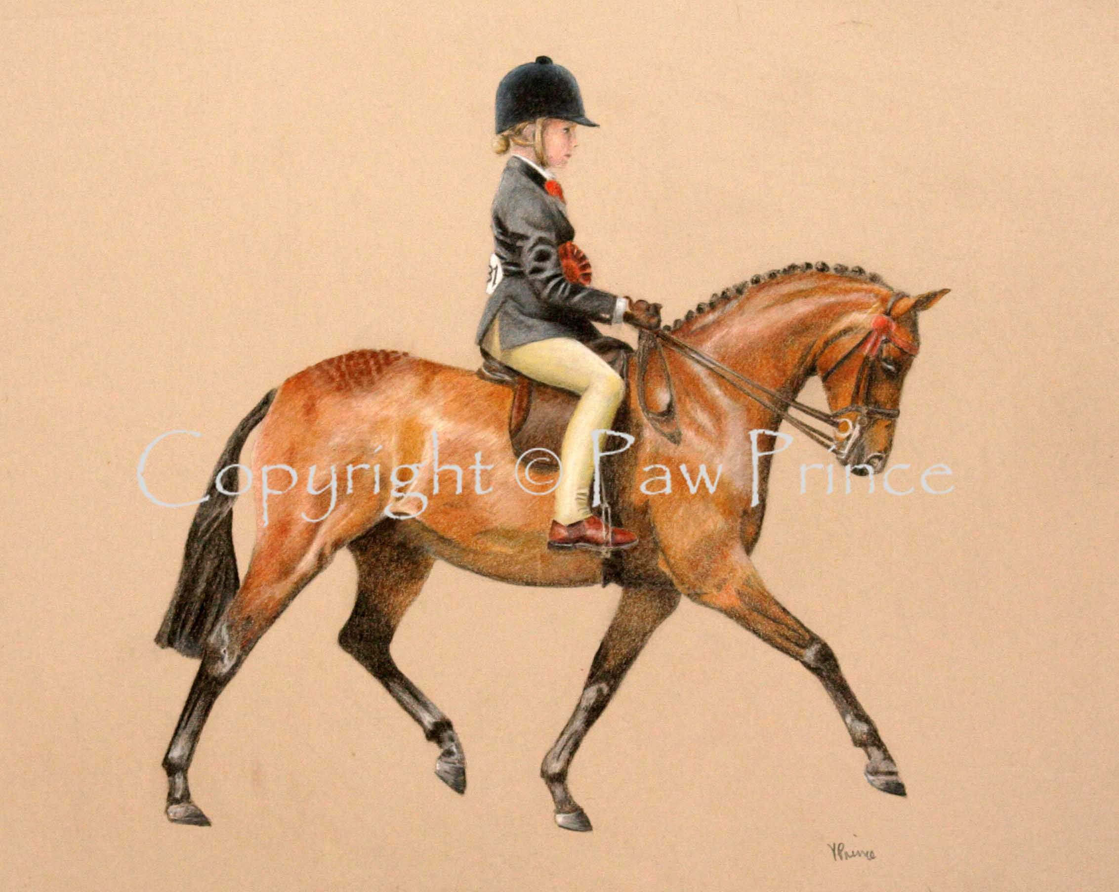 Child on a pony, coloured pencils on mountboard