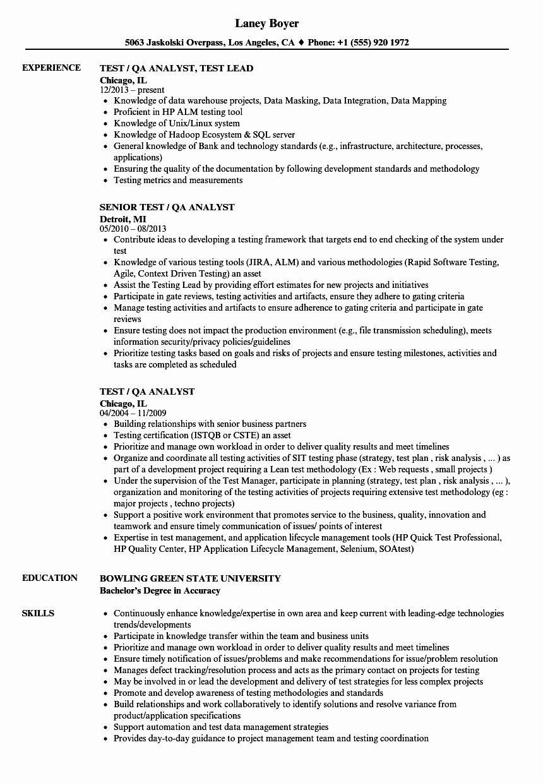 Entry Level Qa Tester Resume Best Of Qa Sample Resume Sentor