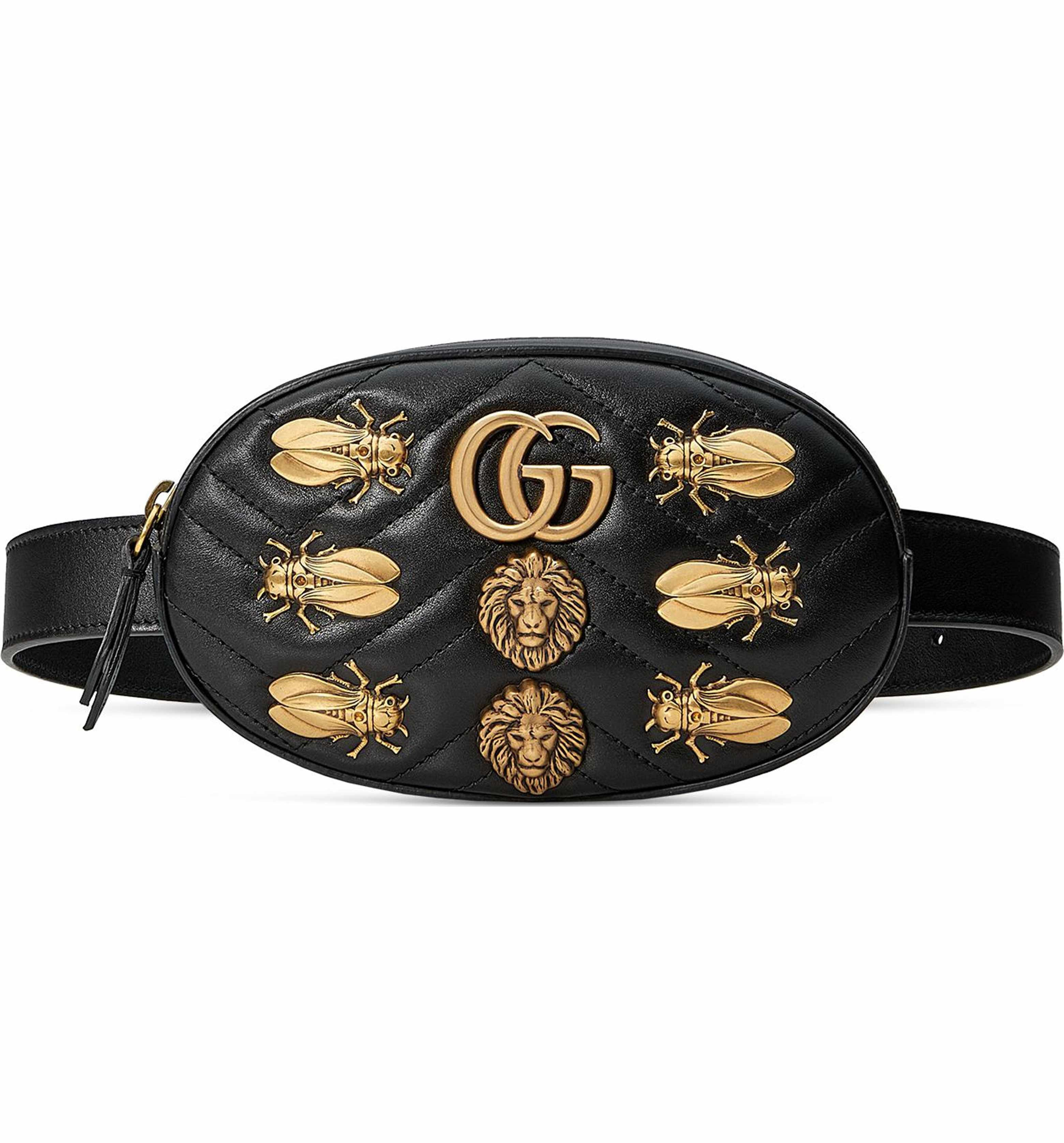 e4862b35667933 Main Image - Gucci GG Marmont 2.0 Animal Stud Matelassé Leather Belt Bag