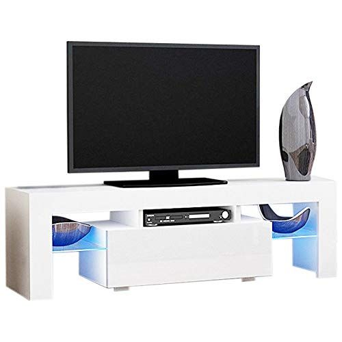 Modern Tv Stand With Drawers High Gloss White Led Tv Stand Console Table Flat Screens White 1303545cm Modern Tv Stand Led Tv Stand Tv Stand