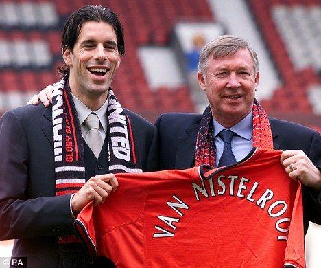 Ruud van Nistelrooy (left) with Sir Alex Ferguson in 2001