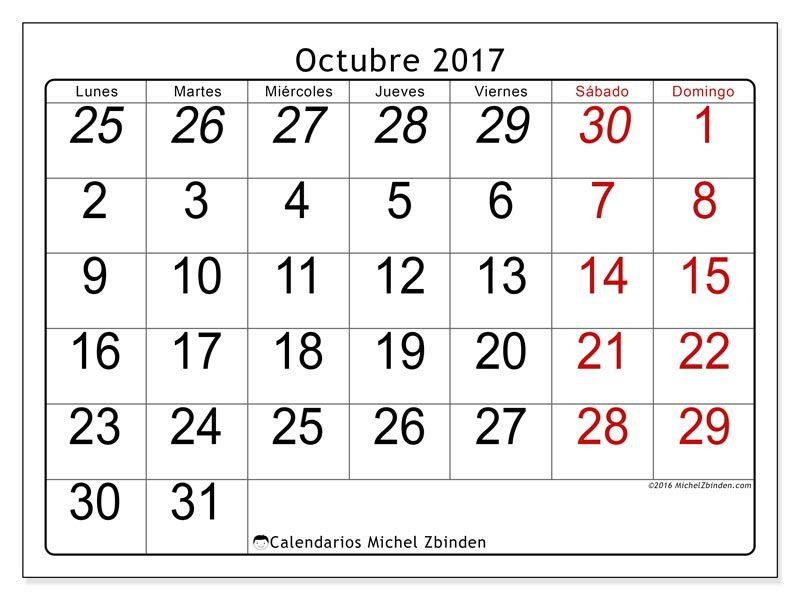 Gratis! Calendarios para octubre 2017 para imprimir   CELLAPERALATA ...