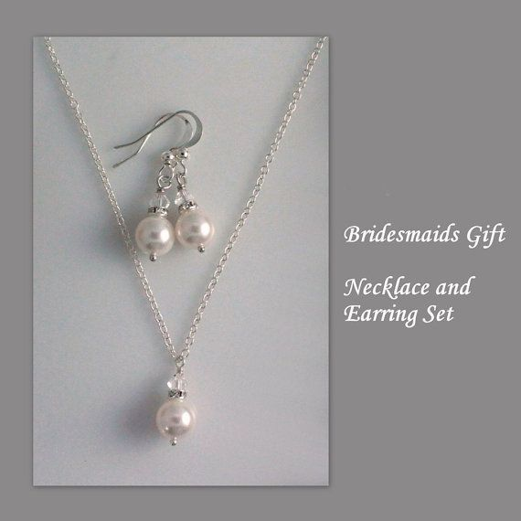 Bridesmaid Necklace And Earring Set By Alexandreasjewels On Etsy 14 00