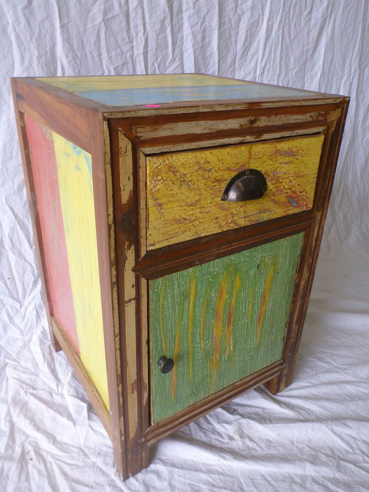 Retro Style Container Bedside Table: Balinese Recycled Boat Timber Wooden Bedside Lamp Side