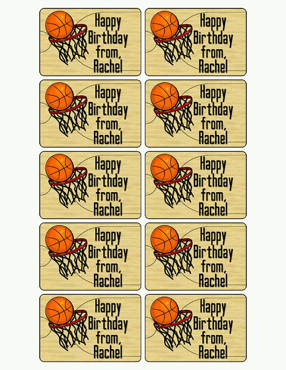 Birthday Gift Stickers Basketball By MoonLitPrintables
