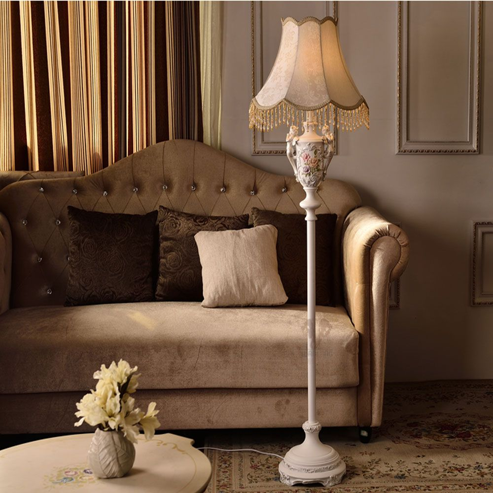 Resin american country style fabric lampshade led floor lamp e27 resin american country style fabric lampshade led floor lamp e27 110v 220v modern floor lamps aloadofball Image collections