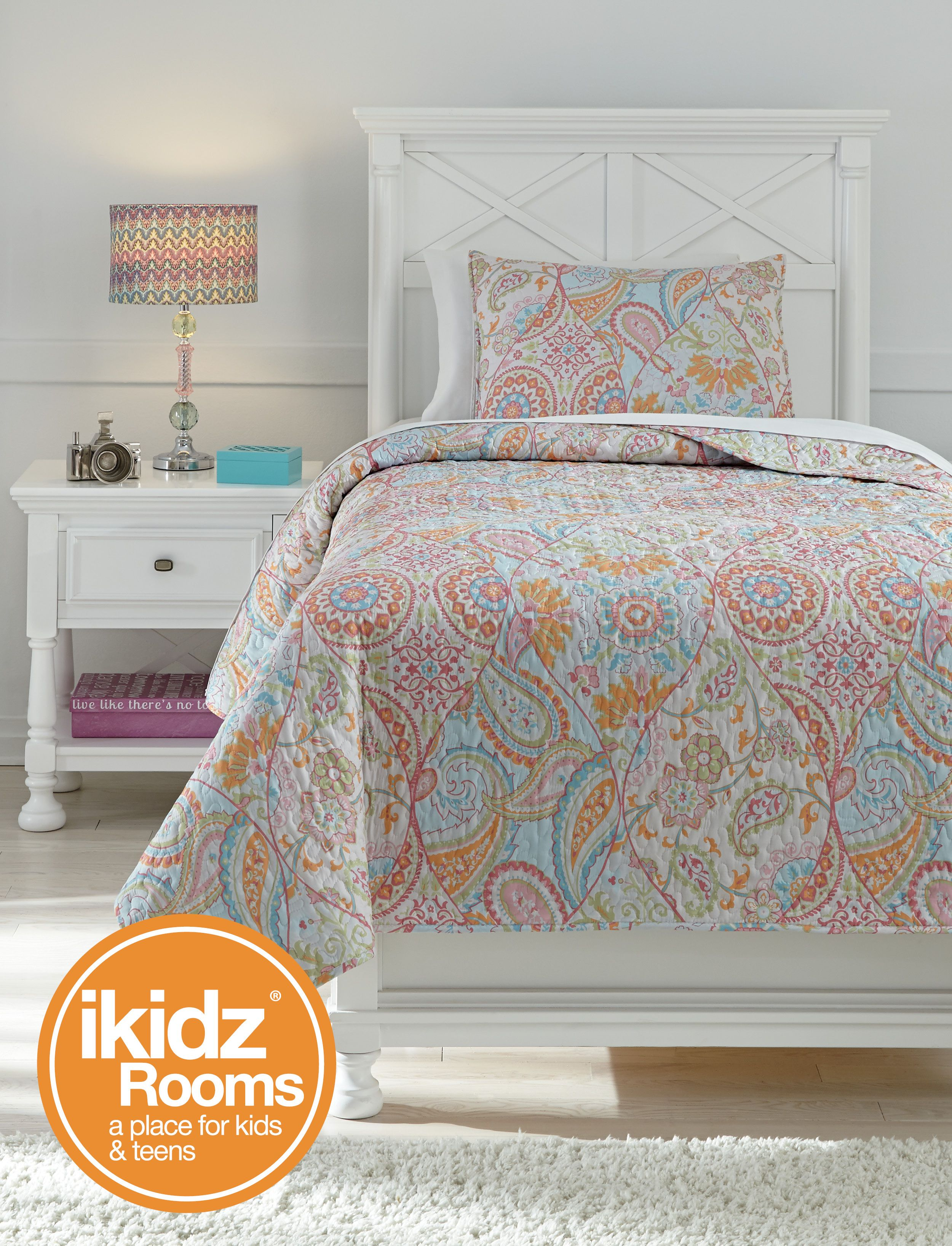 Jessamine Pink And Orange Floral Coverlet Set By Ashley Furniture
