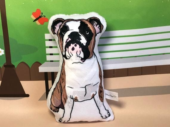 Bulldog Plush Toy, English Bulldog Small Pillow, Dog Lover Gift, Stuffed Dog, Dog shaped Plushie, Bully Portrait, Cute Dog Gifts for Kids