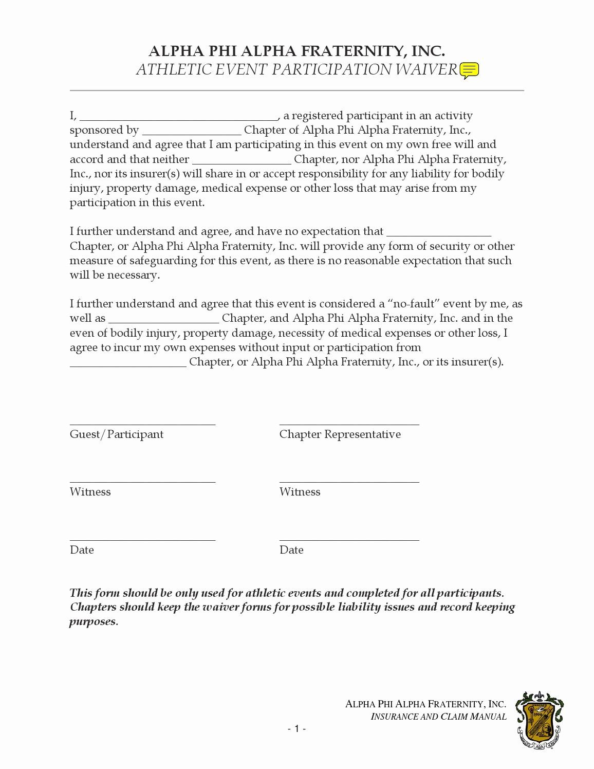 Best Of Participation Waiver Form Template In 2020 Templates