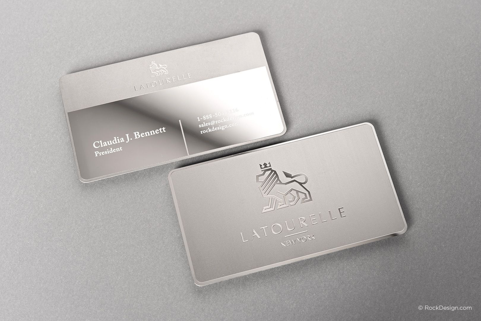Sophisticated modern stainless steel business card with etching and sophisticated modern stainless steel business card with etching and mirror finish latourelle rockdesign luxury business card printing reheart Images