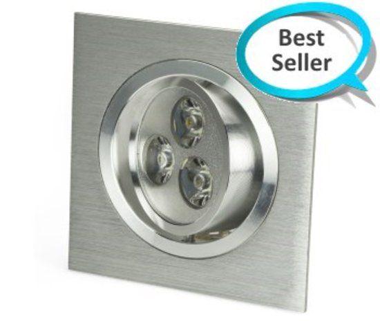 Vierkante LED Inbouwspot 9W - Zilver Dimbaar - Kleur: Warm Wit