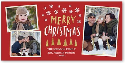 Shiny Trees Christmas Card, Rounded Corners, Red Photos, Trees and