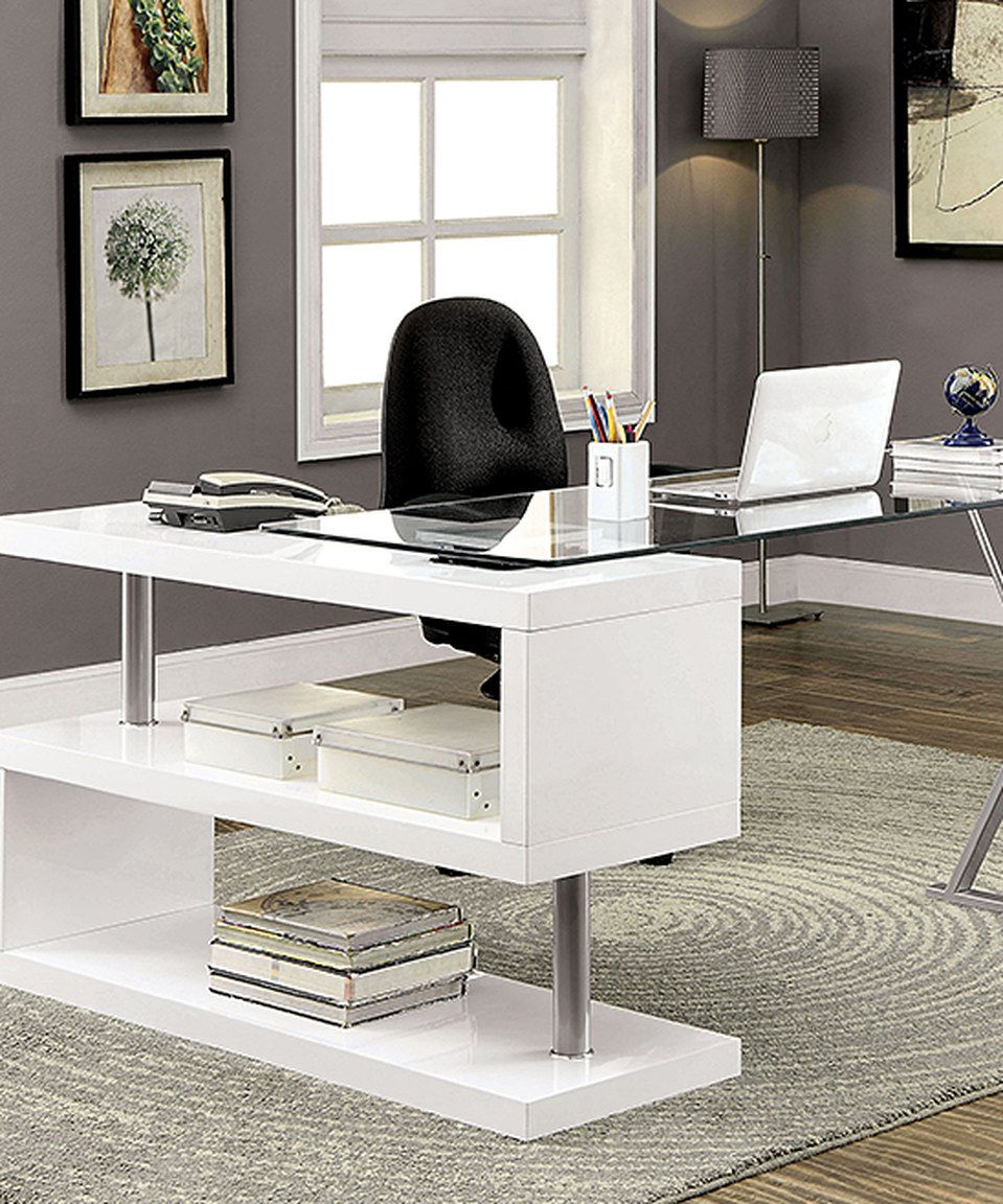 charcoal office glass metal top l tops shaped solar mainstays with frame desk black desks condition immaculate white