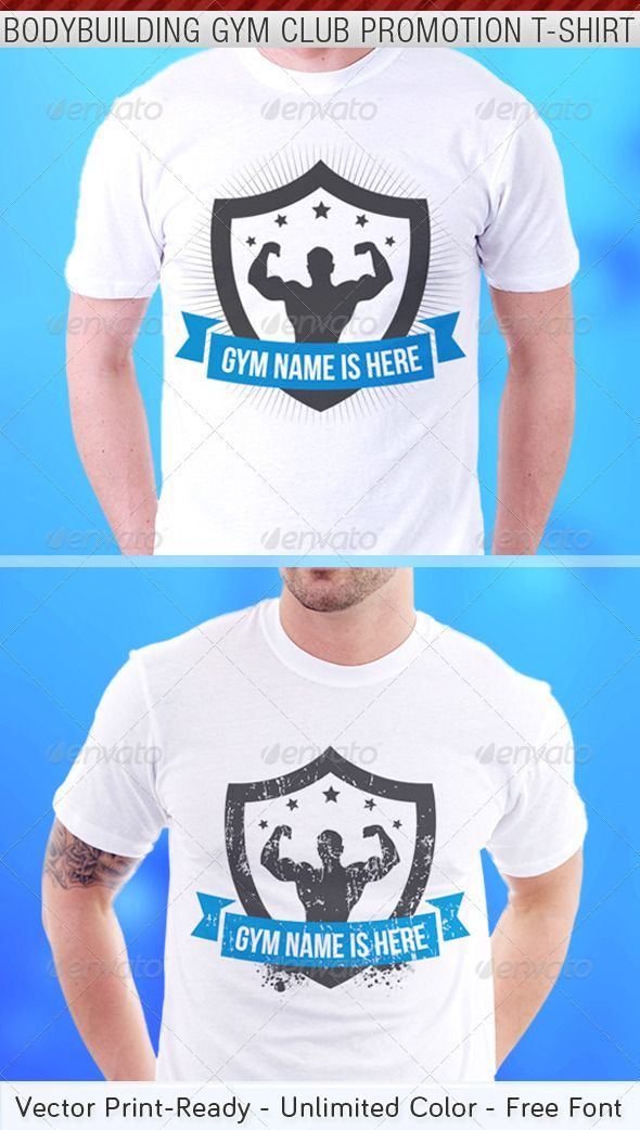 07a3c07b Bodybuilding Gym Club Promotion T-Shirt Template - DOWNLOAD NOW | T ...