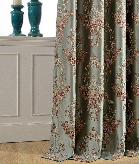 Fl Damask Jacquard Custom Curtains