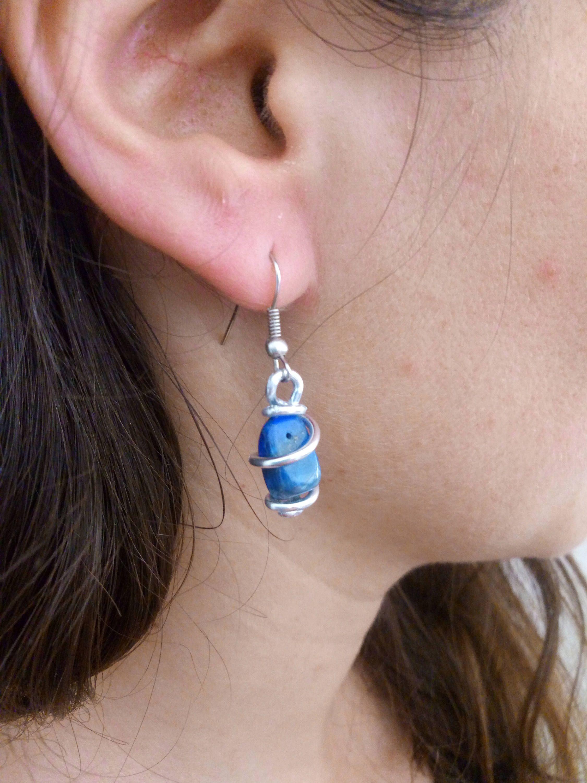 Lapis Lazuli Earrings Gemstones Wire Earrings - Handmade Jewelry ...