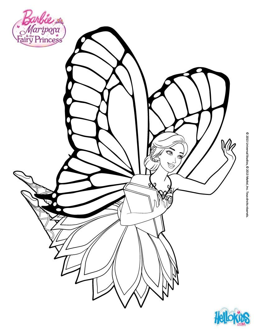 Mariposa is greeted by the fairies of flutterfield more barbie mariposa coloring page on hellokids com