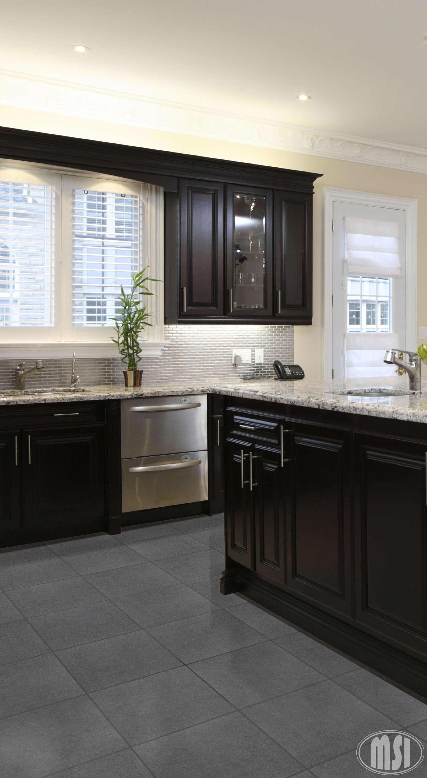 Moon White Granite With Dark Cabinets And Grey Floor Home Kitchens Kitchen Renovation Dark Kitchen Cabinets