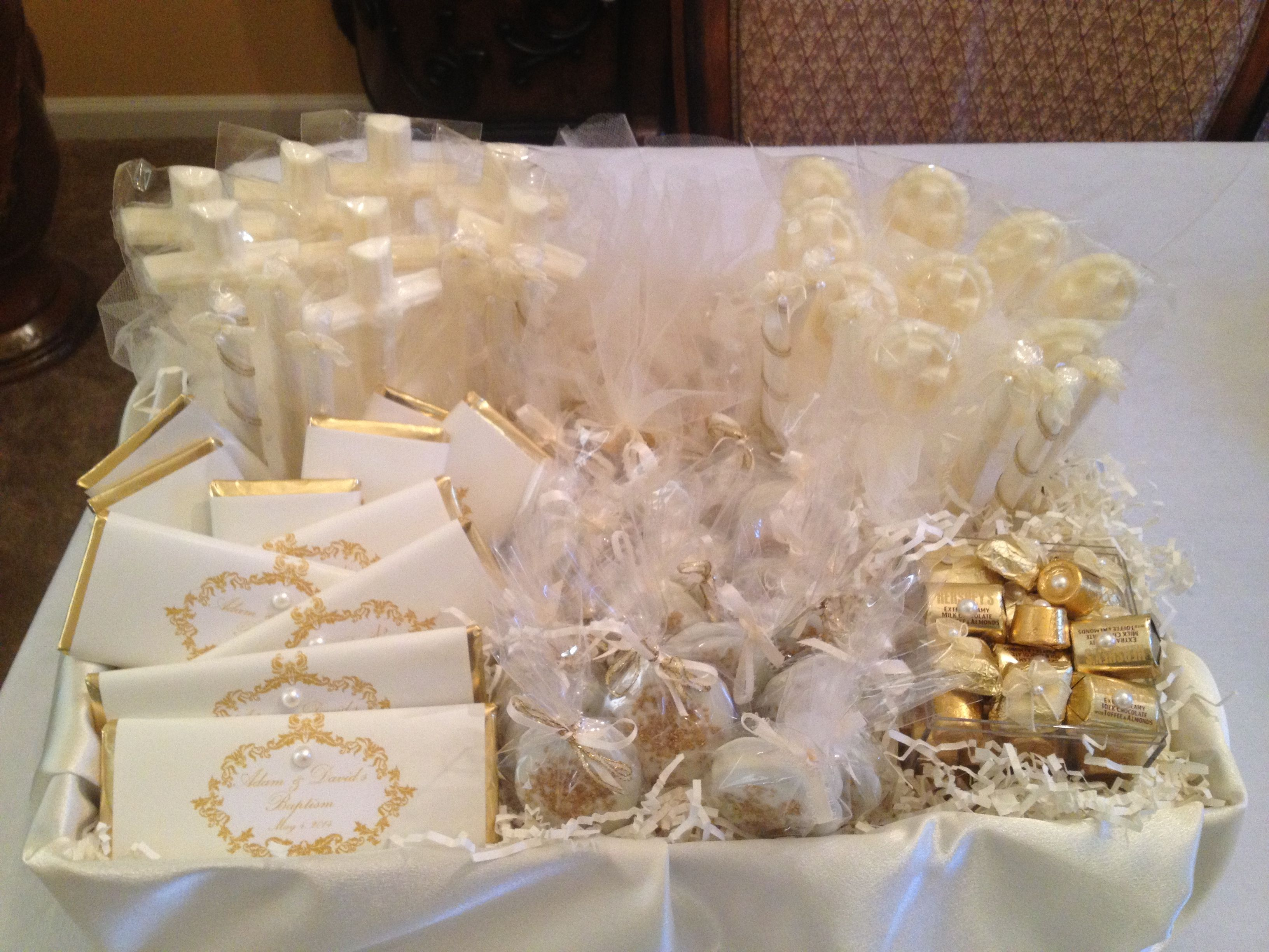 Baptism gift basket! Chocolate covered Oreos with gold glitter ...