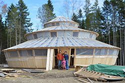 Wood hard-wall yurt in rural Maine