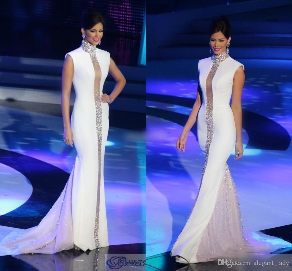 Miss Universe Pageant Evening Dresses White High Neck Bling Crystals ...