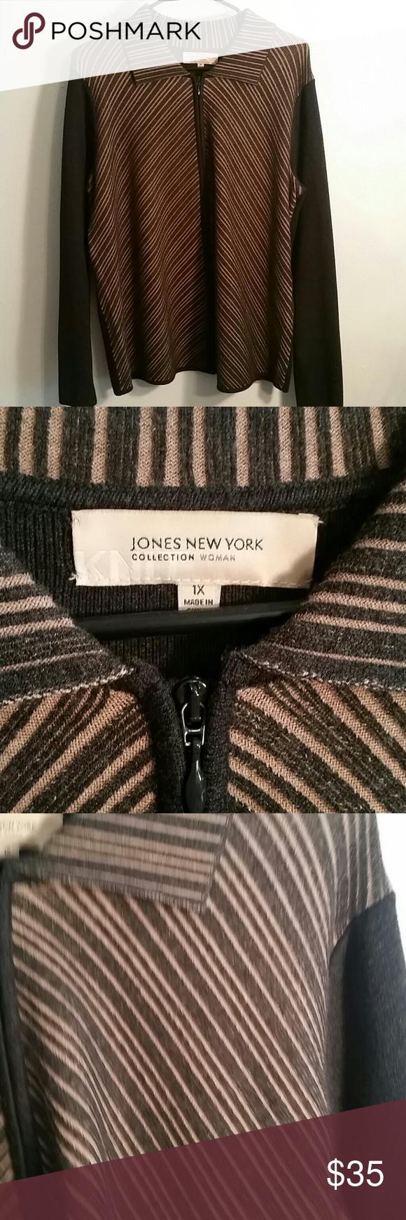 Jones new york 1x knit brown sweater zip up | York, Scoop neck and ...