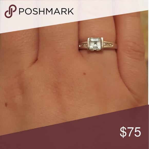 White Gold Aquamarine And Diamond Ring Diamond Ring White Gold Rings