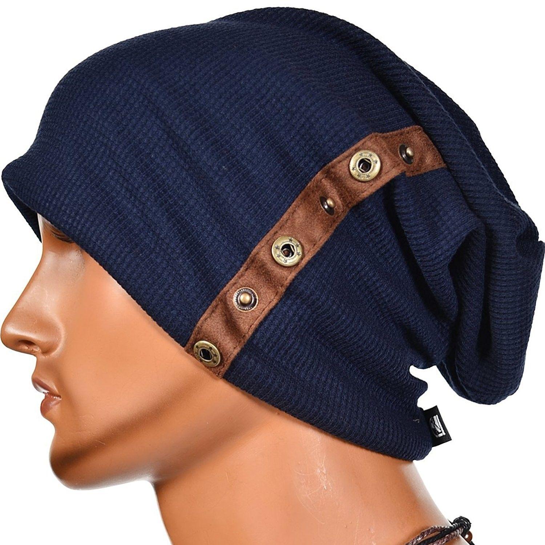 Stylish Fastener Men Oversize Slouchy Soft Beanie Cap Hat - Navy ... 94a4449a25e7
