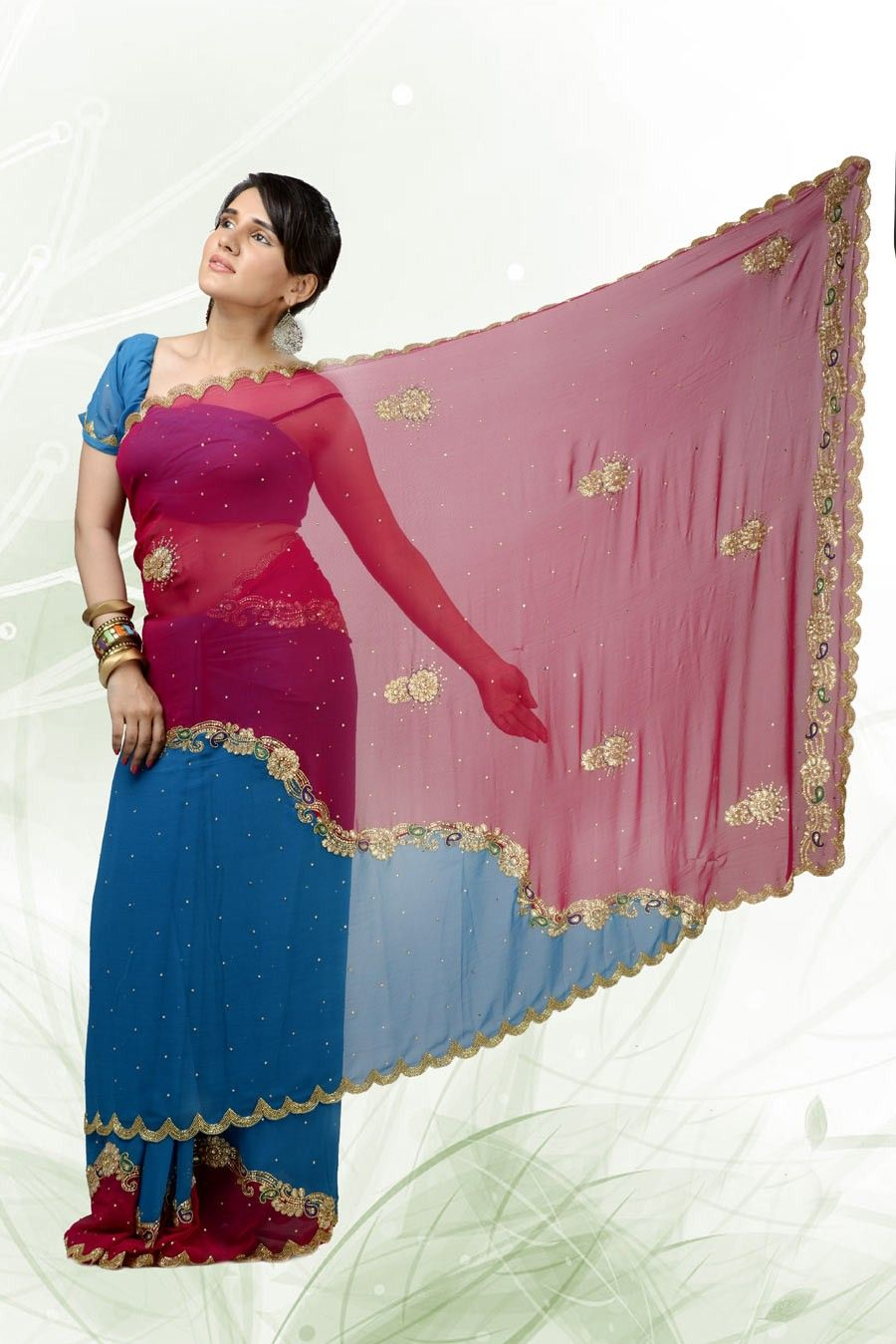 Marvelous deep blue fuchsia embroidered saree item code