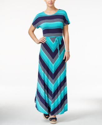 TOMMY HILFIGER Tommy Hilfiger Bridgette Chevron-Print Maxi Dress. #tommyhilfiger #cloth # dresses