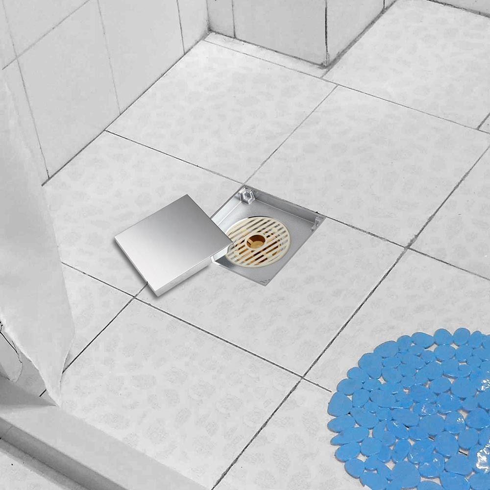 Polished Chrome Square Brass Floor Drain Bathroom Shower Tile Insert