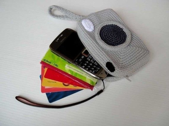 Crochet Pattern - CAMERA PURSE - For cell phone / money / others - PDF (00441) #camerapurse